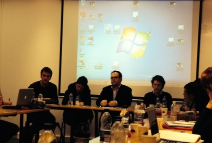 Roundtable - left to right: Nieuwenhuis, Heath-Kelly, Vaughan-Williams, Elden, Roinova (hidden)